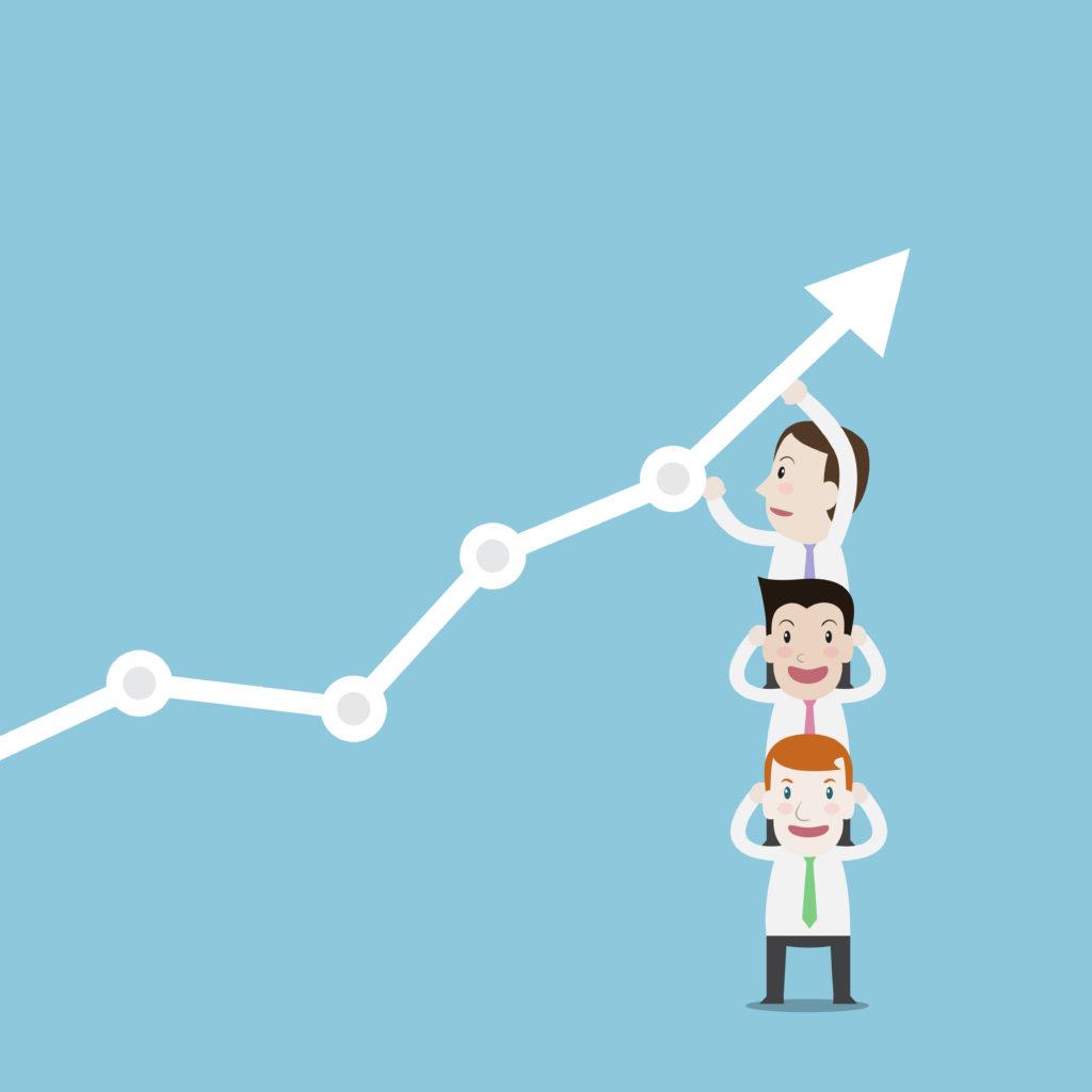 ilustração de pessoas sustentando seta de crescimento